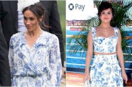 Collage tra Meghan Markle e Selena Gomez in Oscar de la Renta