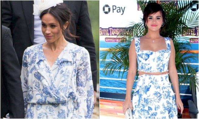 Collage tra Meghan Markle e Selena Gomez in Oscar de la Renta ea0c9cc2699