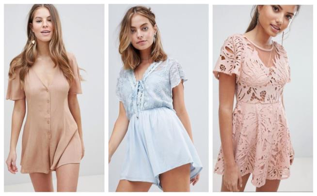 Nei colori pastello, le tute jumpsuit corte di tendenza P/E 2018