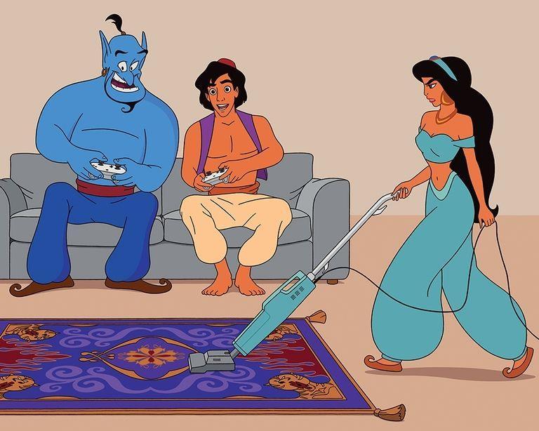 Il Genio e Aladdin sul divano e Jasmin alle pulizie