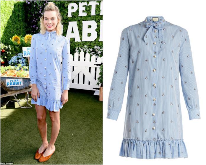Abito camicia di Margot Robbie azzurro alla première di Peter Rabbit