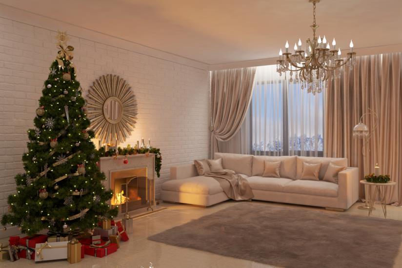 Una stanza moderna con camino e albero di Natale