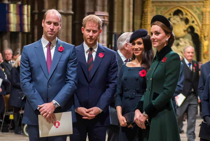 William, Harry, Meghan e Kate