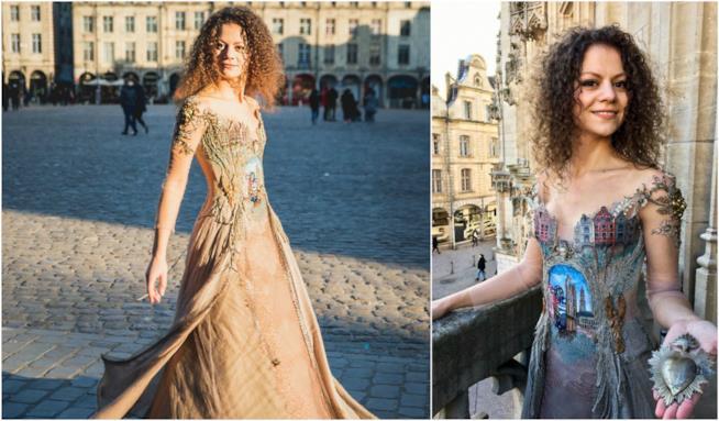 Sylvie Facon e l'abito dedicato alla sua città
