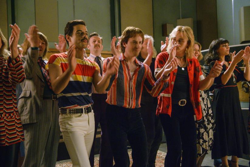 gli attori Rami Malek, Gwilym Lee, Ben Hardy interpretano i membri della band dei Queen