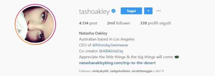 Profilo instagram Natasha Oakley