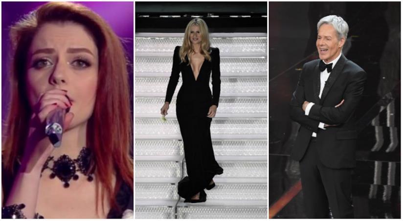 Un collage tra look di Sanremo prima serata