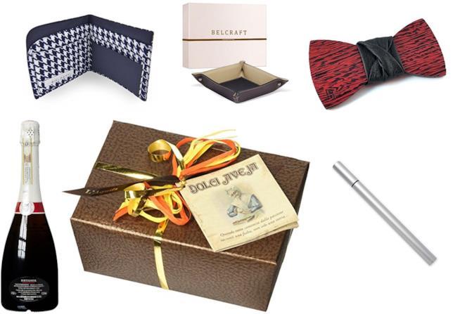 portafoglio, svuotatasche, papillon, prosecco, cioccolatini e penna