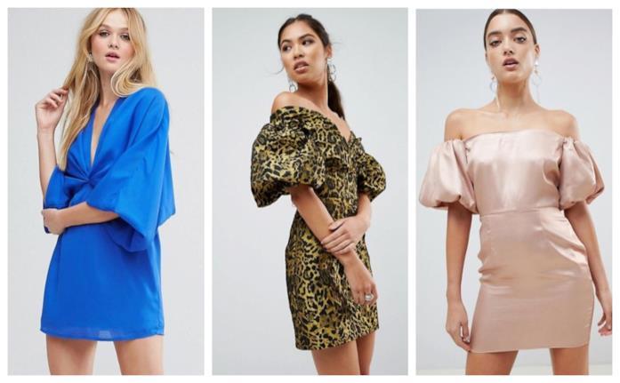 Mini dress con maniche a sbuffo di moda per l'estate 2018