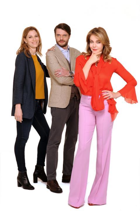 Claudia Gerini con Laura Duranti e Gianluca Franciosi