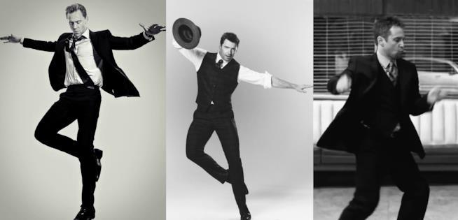 Tom Hiddleston, Hugh Jackman e Sam Rockwell immortalati mentre danzano