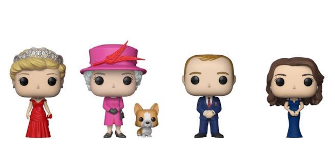 Le figurine Funko Pop di Lady D, la regina Elisabetta, il Principe Willliam e la Duchessa Kate