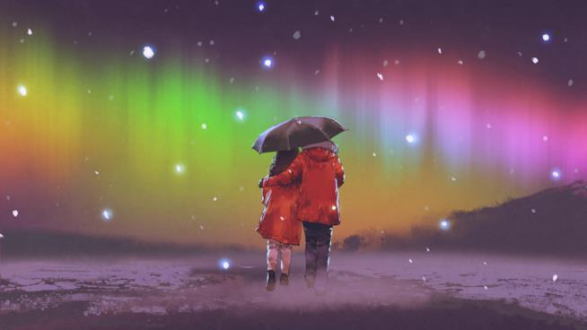 Disegno di una coppia che cammina abbracciata sotto un ombrello