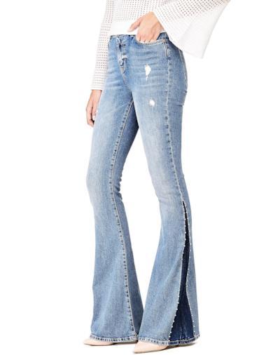 Jeans a zampa colore contrasto