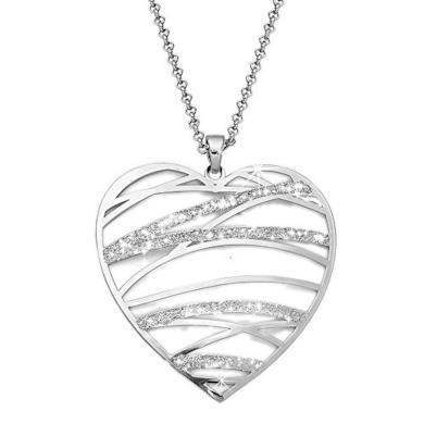 Beloved ❤️ Ciondolo argento da donna con collana lunga - Pendente con dettagli glitter e montatura in lega anallergica - effetto cristalli - varie forme disponibili (Cuore)