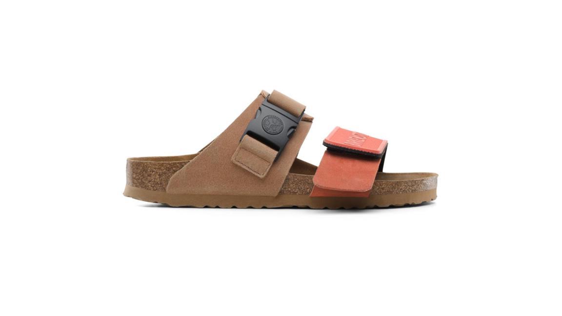 Sandali ugly-chic modello slip-on in pelle e fibbia color arancio Birkenstock-Rick Owens