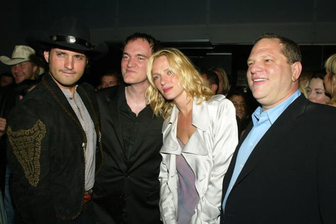 Uma Thurman con Quentin tarantino e Harvey Weinstein