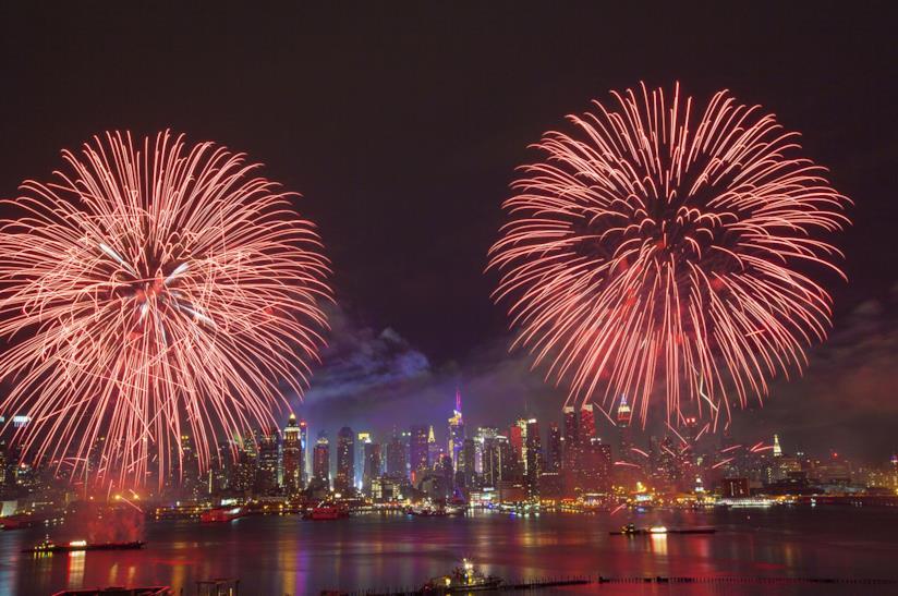 Capodannpo a New York con fuochi d'artificio