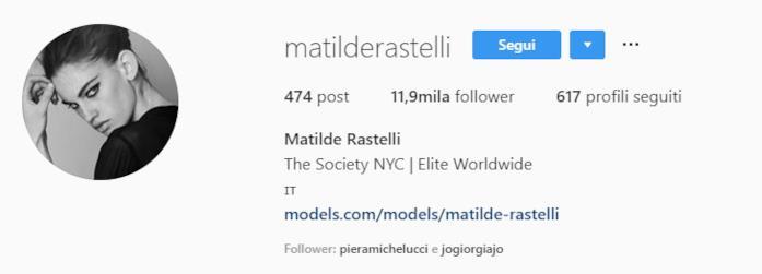 profilo instagram Matilde Rastelli