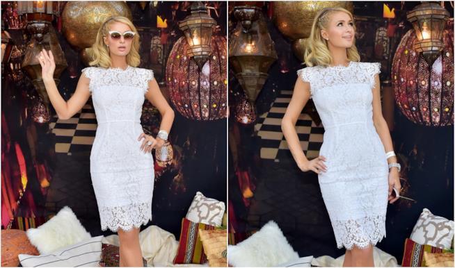 Collage di Paris Hilton in tubino di pizzo