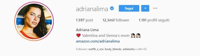 Profilo instagram Adriana Lima