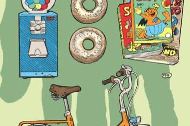 Bicicletta, ciambelle, fumetti e caramelle in una delle illustrazioni