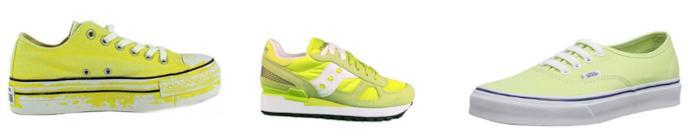 Collage di scarpe sportive color lime