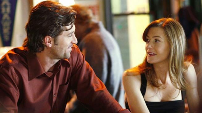 Meredith e Derek in una scena del primo episodio di Grey's Anatomy