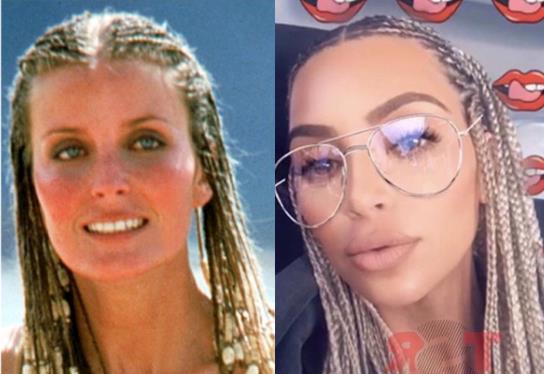 Kim Kardashian in un collage con Bo Derek