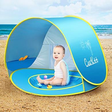 Tenda Spiaggia Bambini Pieghevole Portatile Protezione Solare Anti-UV 50
