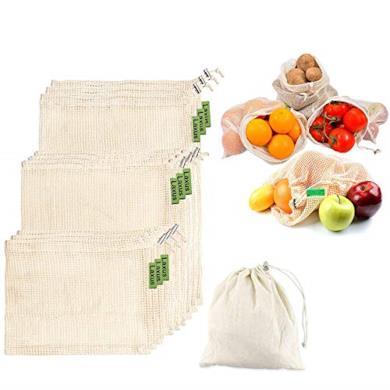 Sacchetti di Verdure in Cotone riutilizzabili,Sacchetti di Frutta e Sacchetti di Verdura,Borse per la Spesa in Rete Traspirante,senza plastica,Degradable, 9 Pezzi - 3*S,3*M,3*L,Rispetta l'ambiente