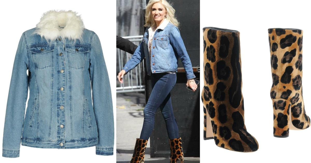 Moda estate 2018: Jeans e giubbotto in denim con stivali leopardati come Gwen Stefani