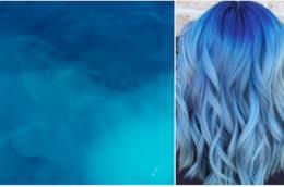 Capelli blu:collage tra chioma e mare