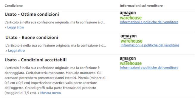 Amazon usato come nuovo le tipologie di stato dei prodotti