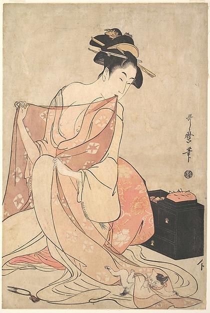 L'illustrazione di Kitagawa Utamaro di una donna che gioca con un gatto