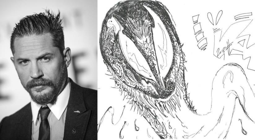 Tom Hardy ed una sua illustrazione di Venom