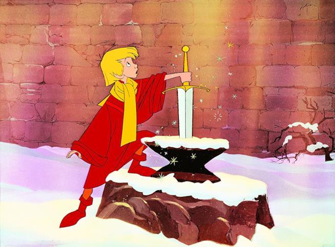 Il protagonista Semola in una scena de La spada nella roccia