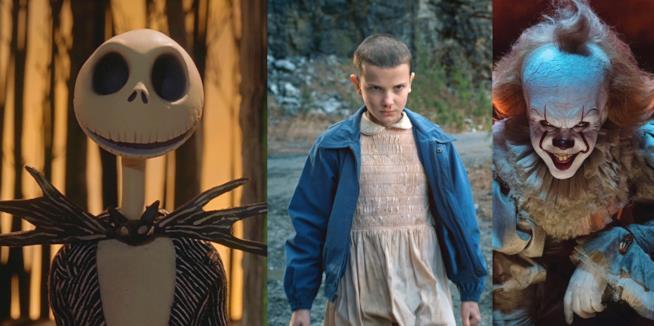 Un collage con immagini di Nightmare Before Christmas, Stranger Things e IT