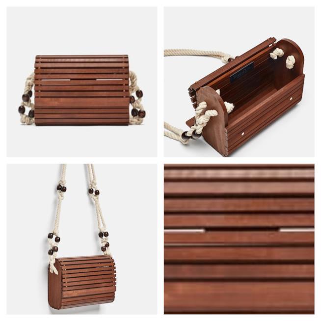 In legno, la borsa a tracolla di moda per l'estate 2018