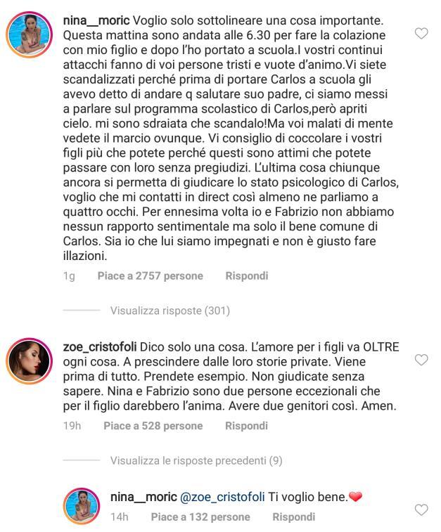 Lo scambio di commenti tra Nina Moric e Zoe Cristofoli