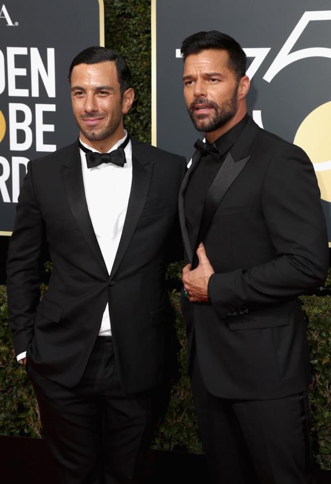 Ricky Martin e il marito Jwan Yosef ai Golden Globes