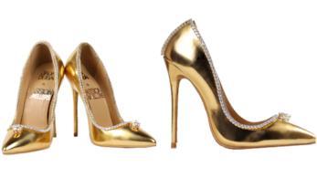 Collage tra due immagini delle scarpe più costose del mondo: Passion Diamond Shoes