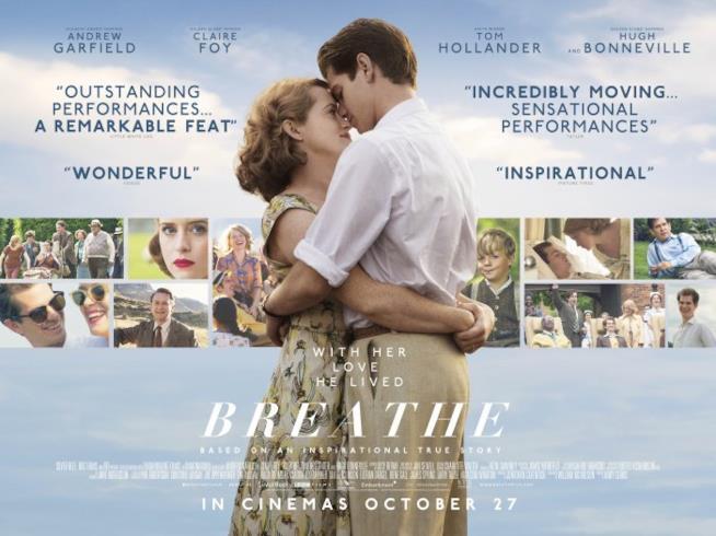 Immagine promozionale di Breathe con gli attori in copertina su uno sfondo azzurro cielo