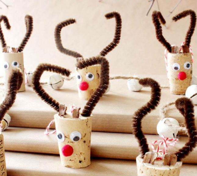 Tappi di sughero decorati a renna