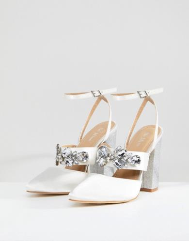 Scarpe con tacco decorate in raso avorio