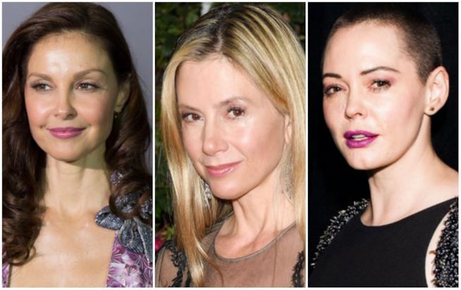 Collage tra Ashley Judd, Mira Sorvino e Rose McGowan