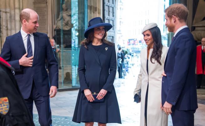 Meghan Markle con Harry, William e Kate