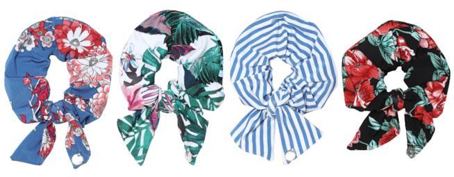 Colorati, le fasce per ed elastici per capelli moda estate 2018