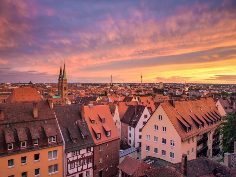 Vista di Norimberga al tramonto