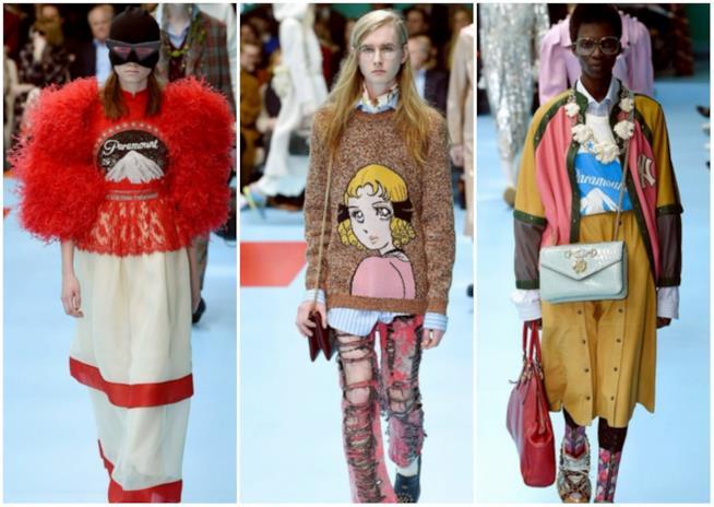 Collage di simboli pop nella sfilata Gucci